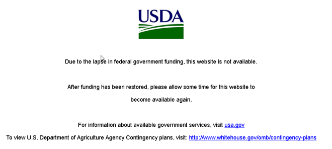One of many federal government websites that were shuttered as a result of the shutdown.